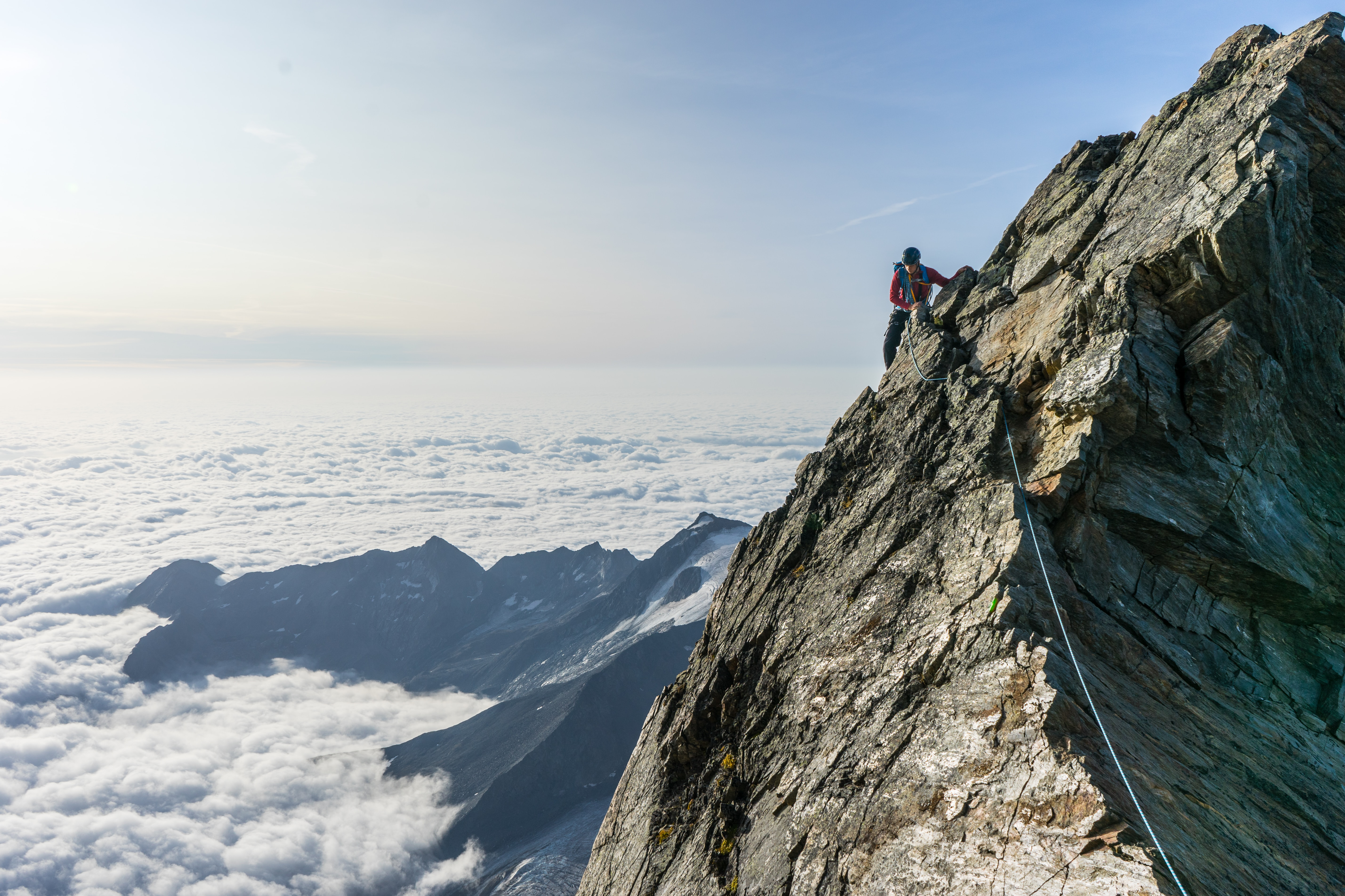Klettersteig in den Sommer in den Bergen